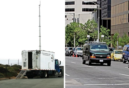 ITS Radio Spectrum Measurement System (RSMS) truck and RSMS receiving van