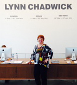 Chadwick is pictured while visiting an exhibition in London of the English artist Lynn Chadwick