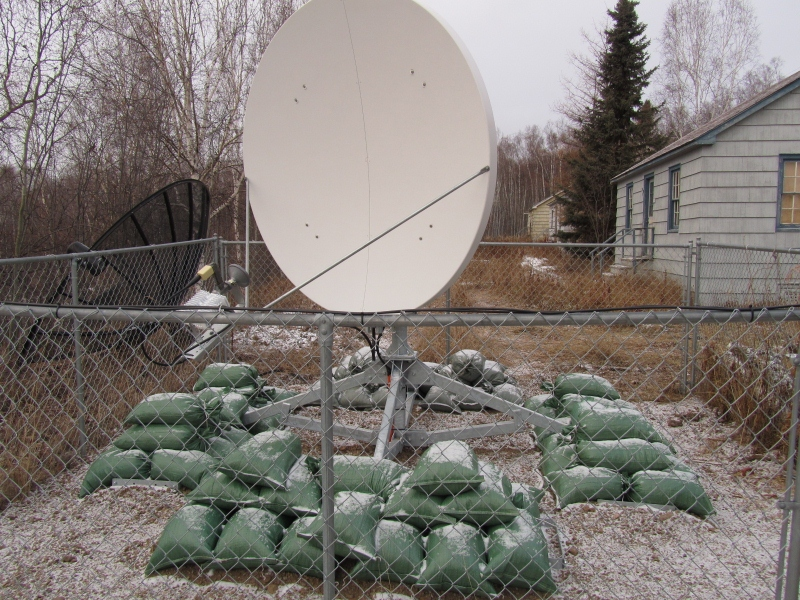 A new satellite dish installed with BTOP funds in Lake Minchumina, Alaska