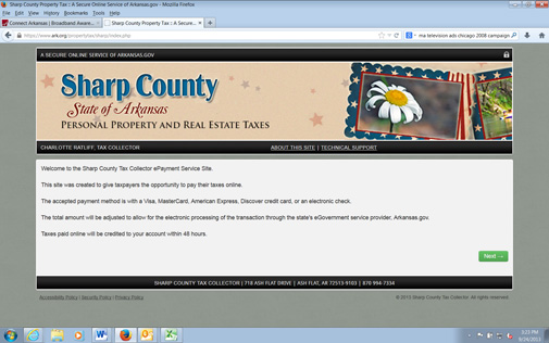 Sharp County Ark property tax webpage