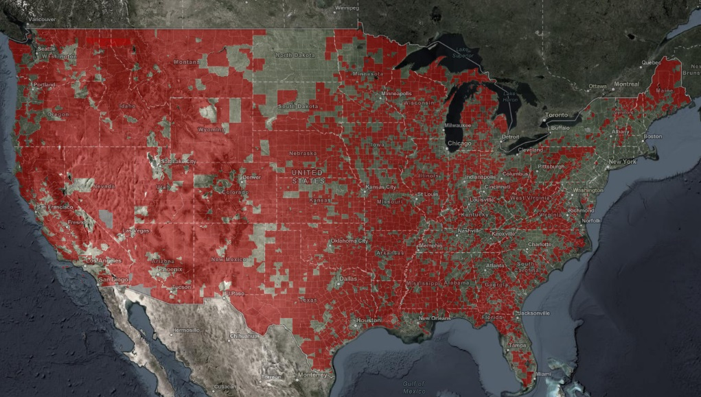 Map displaying Census tracts where median Internet speeds show fixed broadband below 25/3 Mbps, according to Ookla data.